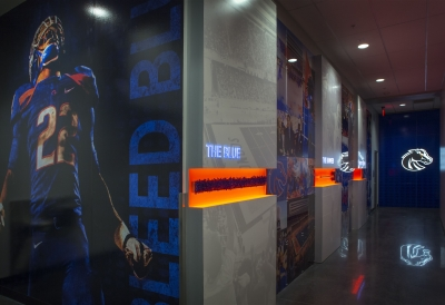 wall graphics of a football team
