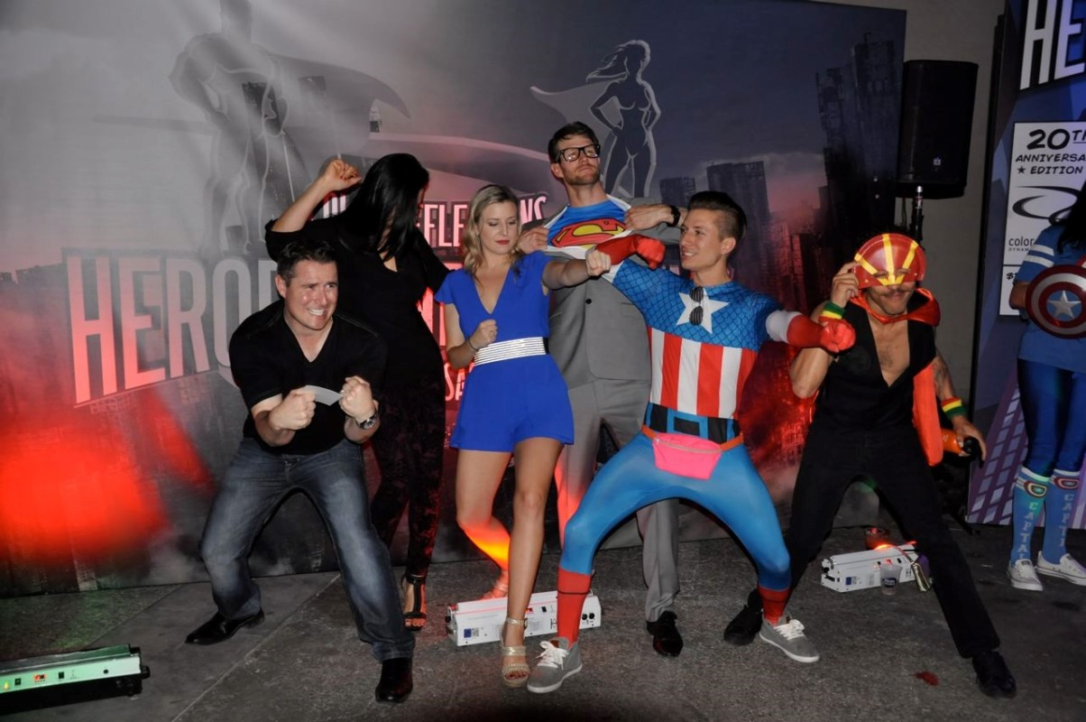 Super Hero's posing at one of our Customer Appreciation parties
