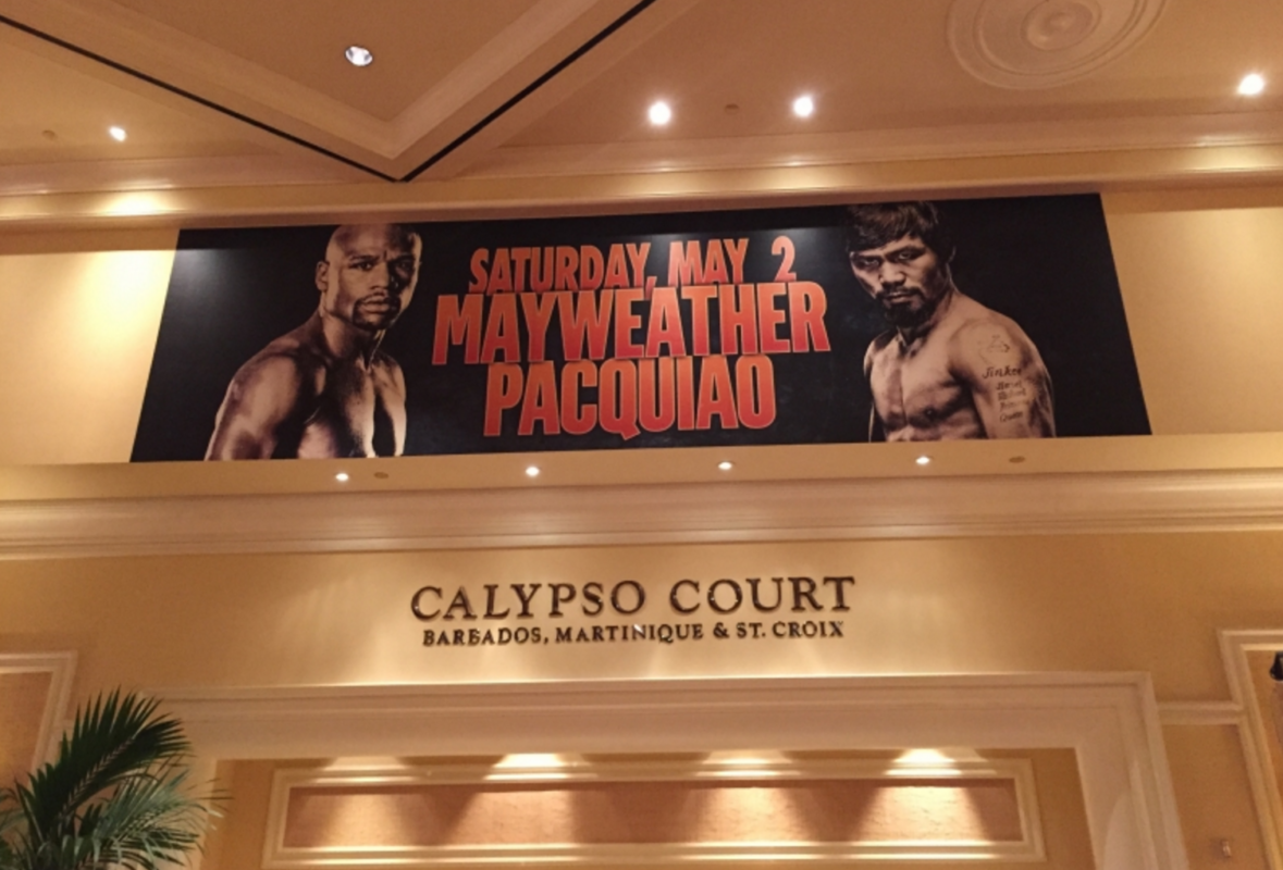 large wall graphic for a boxing match